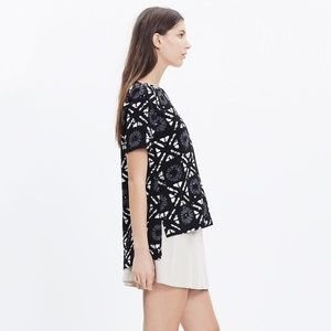 Madewell Industry Button-Back Top in Batik Grid